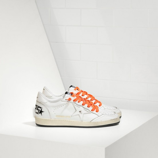 Men/Women Golden Goose ball star leather in orange lace sneaker