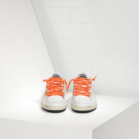 Men/Women Golden Goose ball star leather in orange lace sneaker