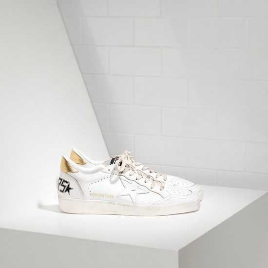 Men/Women Golden Goose ball star leather in white gold sneaker