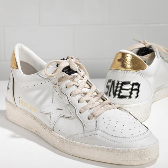 Men/Women Golden Goose ball star leather in white gold sneaker