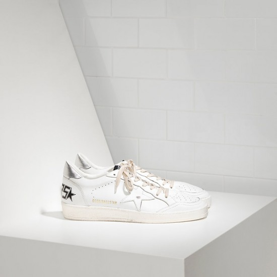 Men/Women Golden Goose ball star leather in white silver sneaker