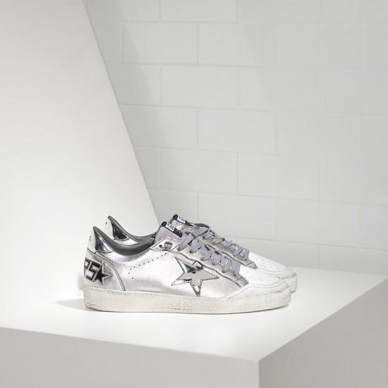 Women Golden Goose ball star leather in silver mirror sneaker