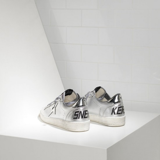 Women Golden Goose ball star leather in silver mirror sneaker