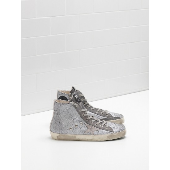 Men/Women Golden Goose francy in glitter coated calf leather sneaker