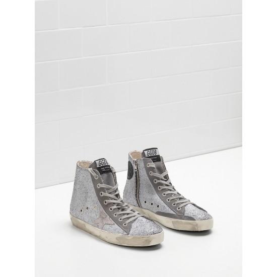 Men/Women Golden Goose francy in glitter coated calf leather sneaker