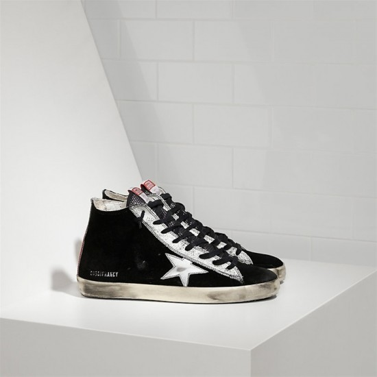 Men/Women Golden Goose francy leather star black suede strawber sneaker