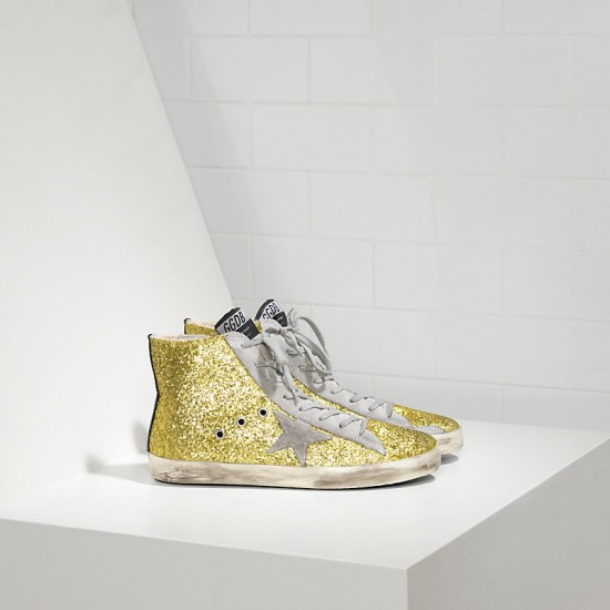 Men/Women Golden Goose francy all over glitter in camoscio lime glitter sneaker