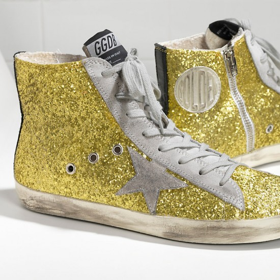 Men/Women Golden Goose francy all over glitter in camoscio lime glitter sneaker