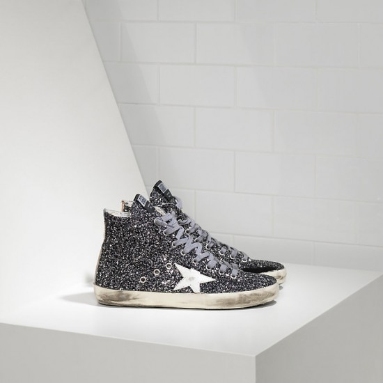 Men/Women Golden Goose francy all over glitter in pelle grey glitter sneaker