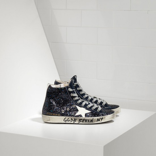 Men/Women Golden Goose francy fabric glitter leather star sneaker
