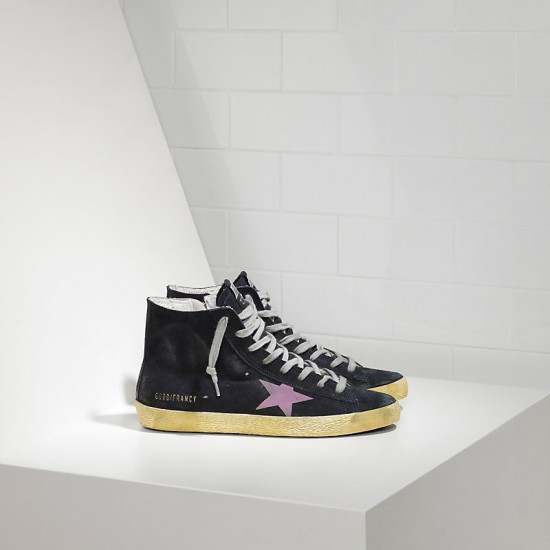 Men/Women Golden Goose francy in camoscio in blue suede pink sneaker
