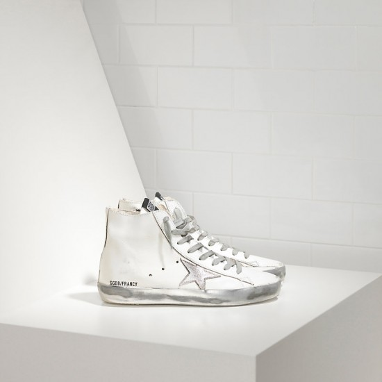 Men/Women Golden Goose francy sparkle white silver sneaker