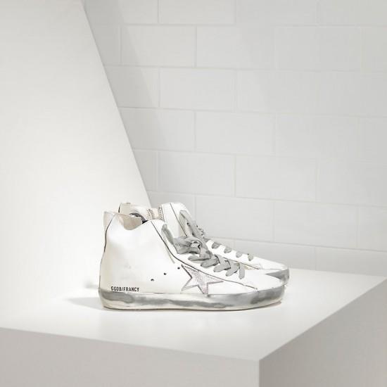 Men/Women Golden Goose francy sparkle white silver sneaker