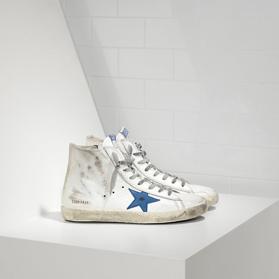Men/Women Golden Goose francy white marble bluette sneaker