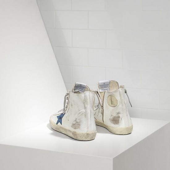 Men/Women Golden Goose francy white marble bluette sneaker