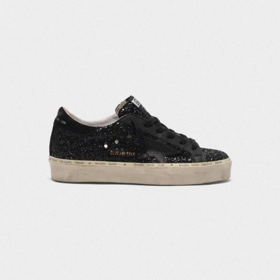 Men/Women Golden Goose hi star black glitter shiny Black star Logo sneaker