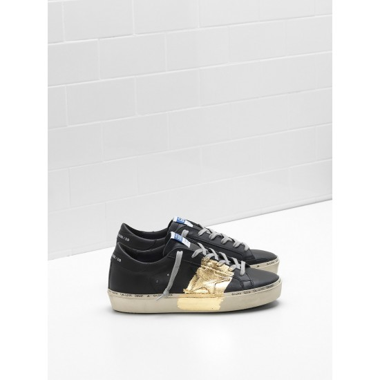 Men/Women Golden Goose hi star 24 carat gold leaf branding black sneaker