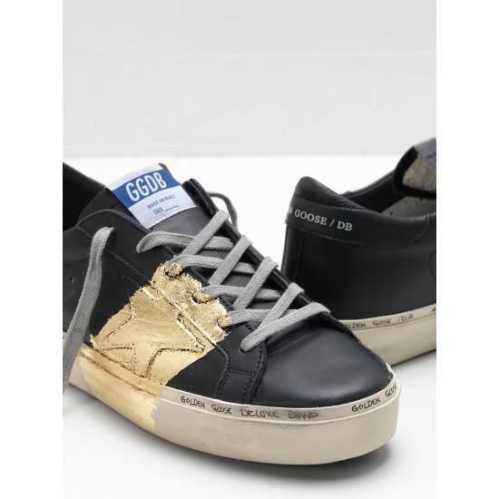 Men/Women Golden Goose hi star 24 carat gold leaf branding black sneaker