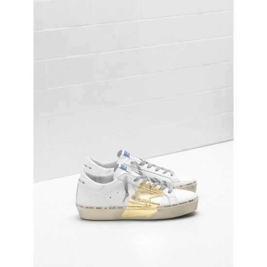 Men/Women Golden Goose hi star 24 carat gold leaf branding white sneaker