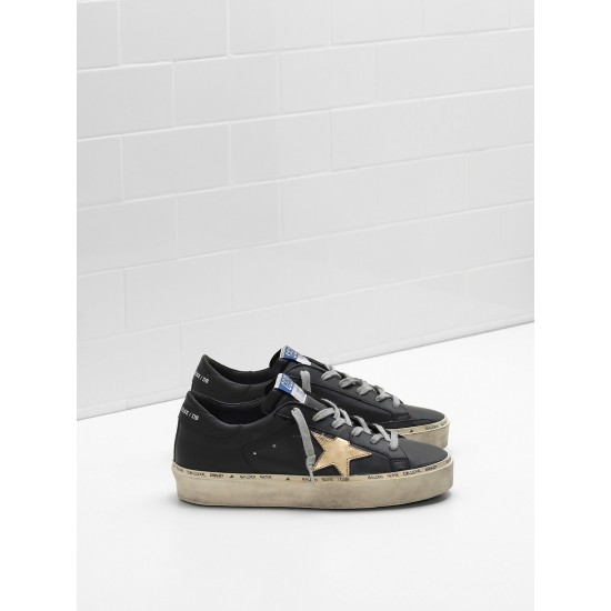 Men/Women Golden Goose hi star slight vintage treatment star in black sneaker