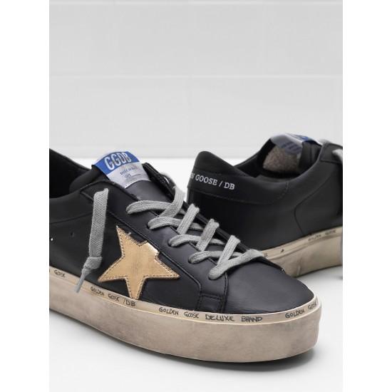 Men/Women Golden Goose hi star slight vintage treatment star in black sneaker