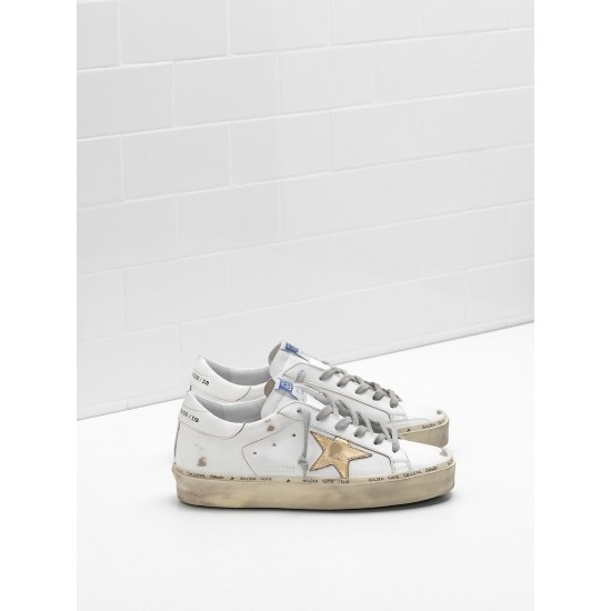 Men/Women Golden Goose hi star slight vintage treatment star in white sneaker