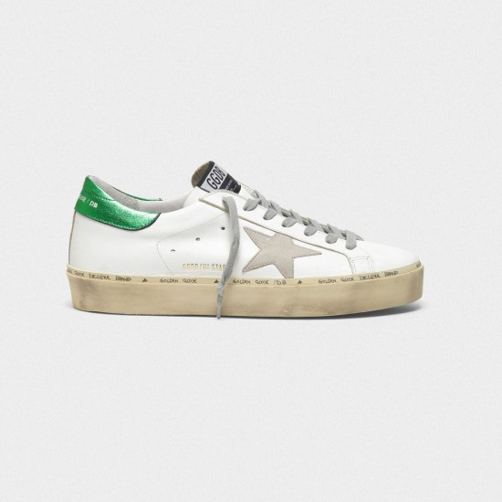 Men/Women Golden Goose hi star with laminated heel tab white green sneaker