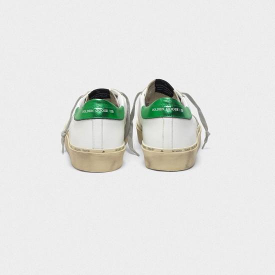 Men/Women Golden Goose hi star with laminated heel tab white green sneaker