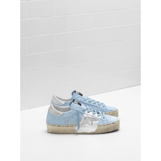 Women Golden Goose hi star ciel nabuk leather real silver sneaker
