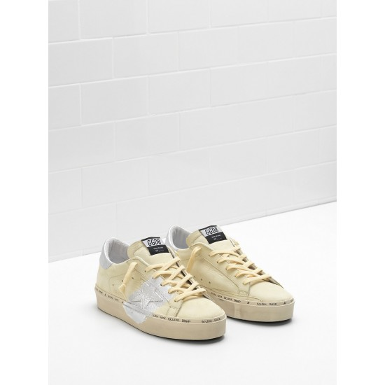Women Golden Goose hi star lemon nabuk leather real silver sneaker