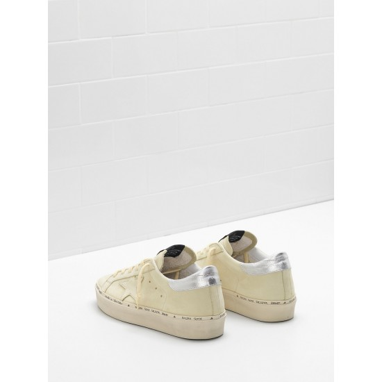 Women Golden Goose hi star lemon nabuk leather real silver sneaker