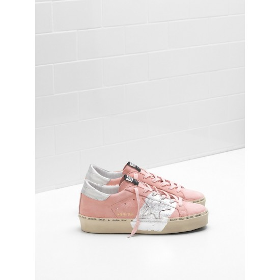 Women Golden Goose hi star powder nabuk leather real silver sneaker