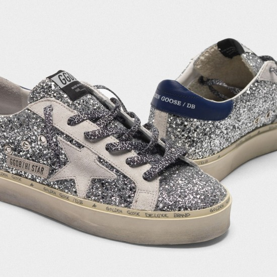 Women Golden Goose hi star with glitter white star and leopard print laces sneaker