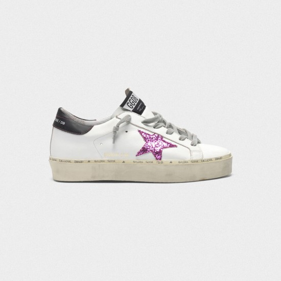 Women Golden Goose hi star with pink glitter star and black sneaker