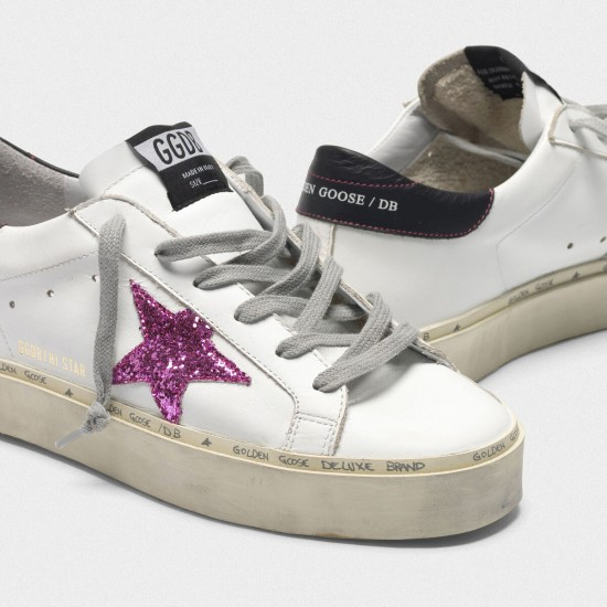 Women Golden Goose hi star with pink glitter star and black sneaker