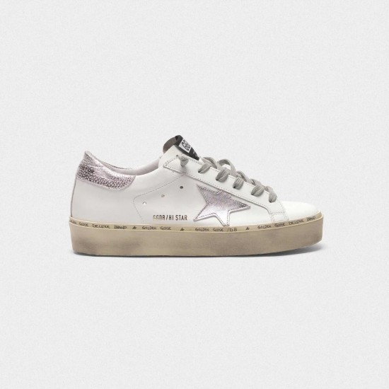Women Golden Goose hi star with star and heel tab in metallic silver sneaker