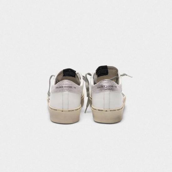Women Golden Goose hi star with star and heel tab in metallic silver sneaker