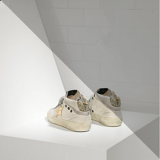 Men/Women Golden Goose mid star in leather star white military gold sneaker