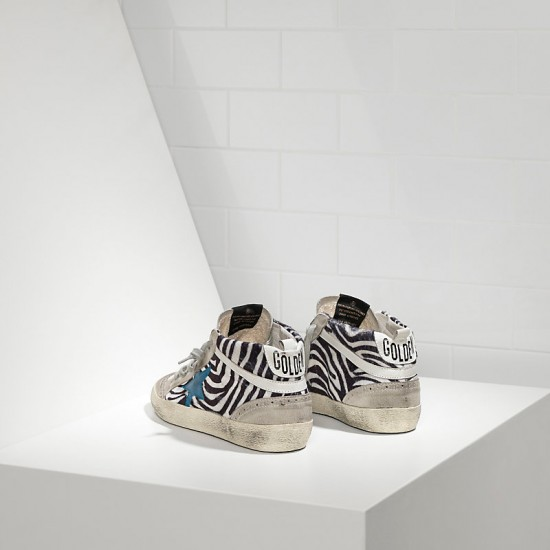 Men/Women Golden Goose mid star printed effect skin and leather star sneaker
