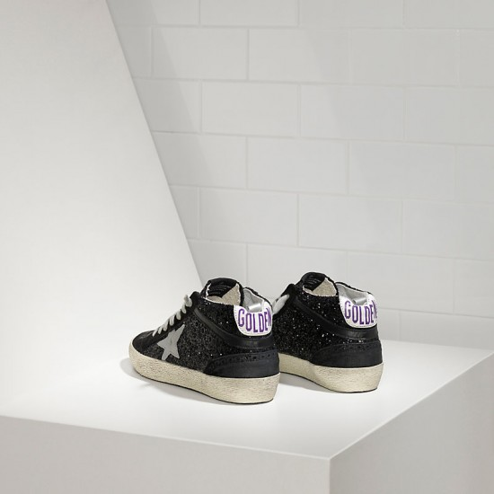 Men/Women Golden Goose mid star all over glitter in black glitter sneaker