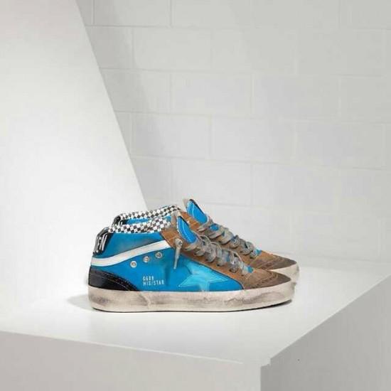Men/Women Golden Goose mid star in blue brown sneaker