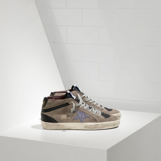 Men/Women Golden Goose mid star in camoscio e stella glitter sneaker