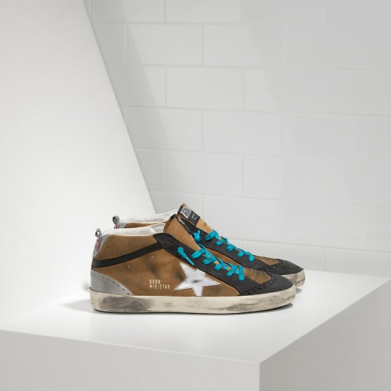 Men/Women Golden Goose mid star in camoscio olive suede sneaker