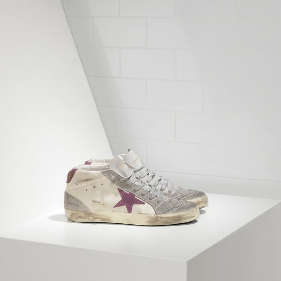 Men/Women Golden Goose mid star in camoscio white pink star sneaker