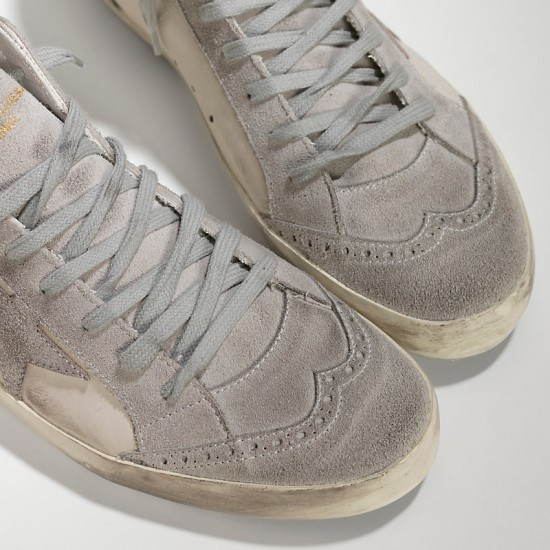 Men/Women Golden Goose mid star in camoscio white silver star sneaker