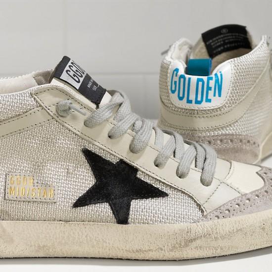 Men/Women Golden Goose mid star in tessuto tecnico e stella in Grey sneaker