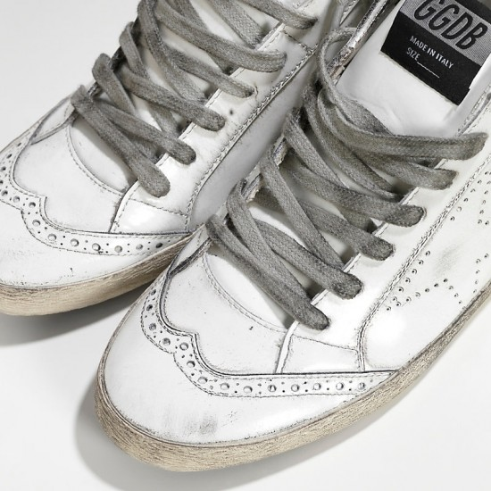 Men/Women Golden Goose mid star lucida traforata white polish sneaker