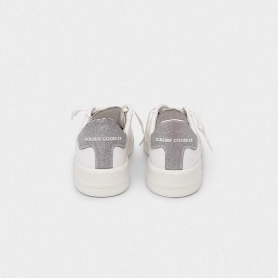 Men/Women Golden Goose purestar with glittery silver sneaker