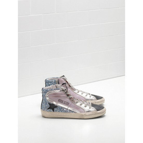 Men/Women Golden Goose slide in pink blue black sneaker