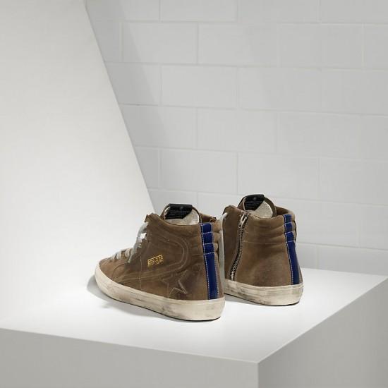 Men/Women Golden Goose slide in camoscio green leather bluett sneaker